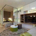 Интерьер однокомнатной квартиры с спальней