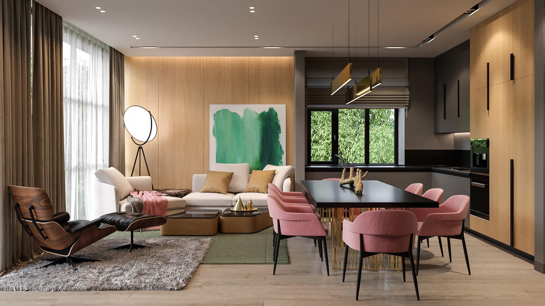 Стены в современной гостиной
